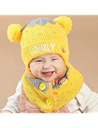 Cappello invernale bambino del bambino cappello caldo berretto bambini  velluto spesso a maglia cappello con sciarpa 3b1b5280a85f
