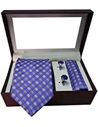 Riyasat - Check Design Purple Colour Micro Fibre Men Tie, Cufflink and Pocket Square Gift Set