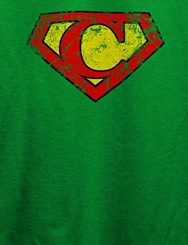 C Buchstabe Logo Vintage T-Shirt Grün