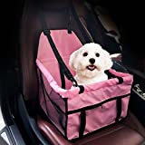 Easylifer Cat Puppy Pet Car Seat Carrier Travel Carrier Bag Cage Deluxe Portable with Clip-On Safety Leash and Zipper Storage Pocket Pet Dog Car Booster Seat(pink)