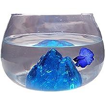 Nicepets Pecera pequeña Redonda de Cristal Azul y 6,5L para Peces Betta y decoración