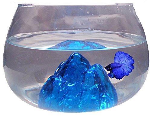 Nicepets Pecera pequeña Redonda Cristal Azul 6,5L