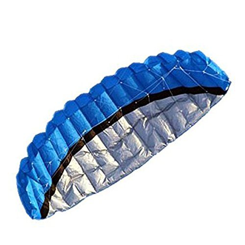 Temlum 2.5M Double Line Control Parachute Speed Foil Stunt Frameless Kite With Wrist Strap And 25M Coiling Plate, Blue