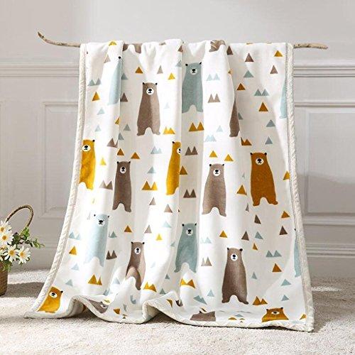 YAOHAOHAO Weißer Bär Muster babydecke Decke Polyester Material Winter Kindergarten Konzipiert für Baby (100*150cm)