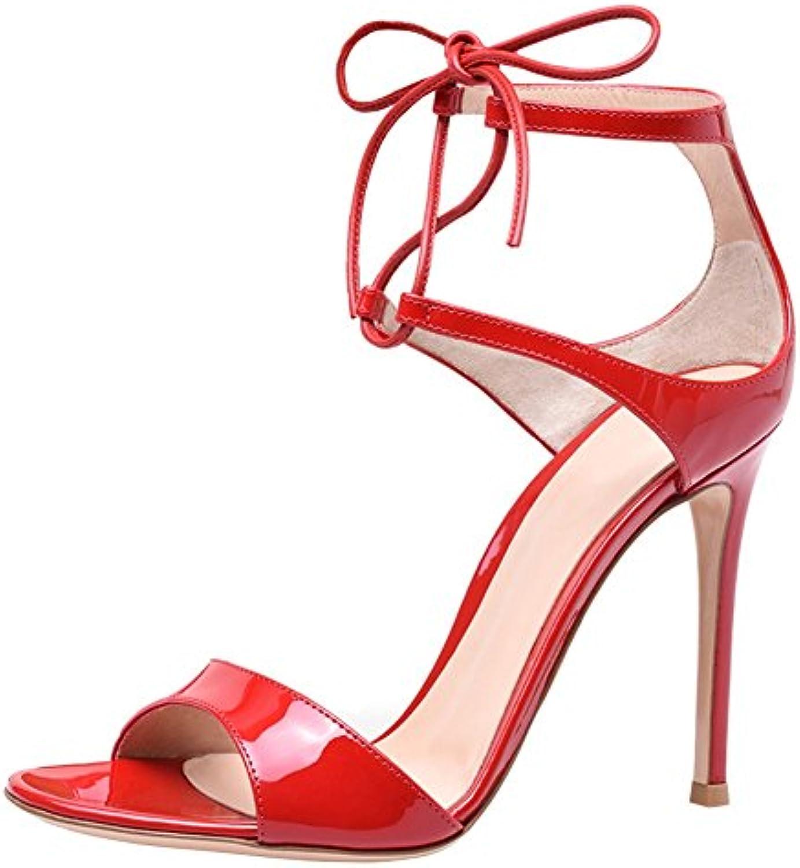 5469c6c9dc4 SQY Women s Women s Women s Patent leather Bandages Open toe High heel Pump  Dress Sandals Red B07DB8YN9R