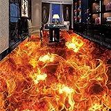 Kundenspezifische Persönlichkeit 3D Stereoscopic Boden Wandbild Tapete Wohnzimmer Bettwäsche Zimmer Boden Decor Vinyl Wall Paper Brennendes Feuer, 200 * 140 cm