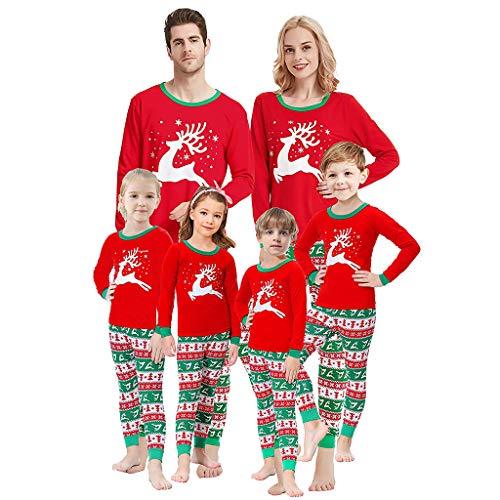 Holeider Weihnachten Pyjama Familie Schlafanzug Passende Pyjama Sets Damen Herren Kinder Baumwolle Nachtwäsche Eltern-Kind Elk Tops + Hosen Homewear Weihnachts Nachthemd