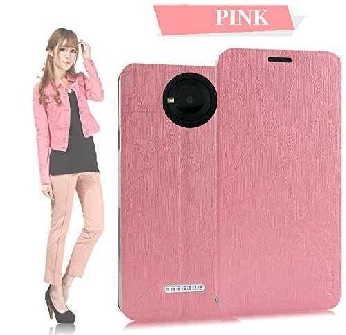 Tarkan Pudini PU Leather Slim Flip Cover Case with Convertible Back Stand for Micromax YU Yuphoria (Pink)  available at amazon for Rs.199