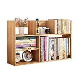 JCNFA Desktop-Bücherregal Kombinationsrahmen Lagerregal Student Verwenden Bürobedarf Buchablage, 2 Größen (Farbe : Holzfarbe, größe : 60 * 18 * 48cm)