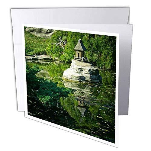 """3dRose gc_12678_1 Grußkarte""""Asiatischer Wassergarten"""", 15,2 x 15,2 cm, 6 Stück"""