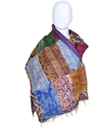 Indistar Vintage Silk Hand Quilted Kantha Hand Work Dupattas Reversible Scarves Scarf Patchwork Multicolor(80200...