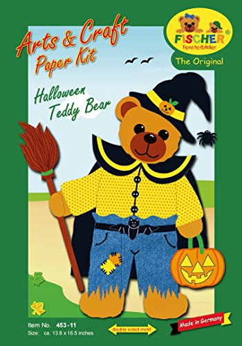 Fischer Fensterbild HALLOWEEN-BÄR / Bastelpackung mit ENGLISCHER ANLEITUNG / 35x42 cm / zum Selberbasteln / Basteln zu Halloween mit Pappe und Papier (Aus Tonpapier Halloween-basteln)