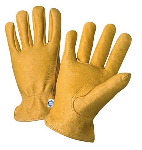 Premium Getreide Hirschleder Leder Ungefüttert Treiber Handschuh, Arbeit, Shirred Elastische Manschette am Handgelenk, 9-1/5,1cm Länge, Pack (1Paar), 85040-L ()