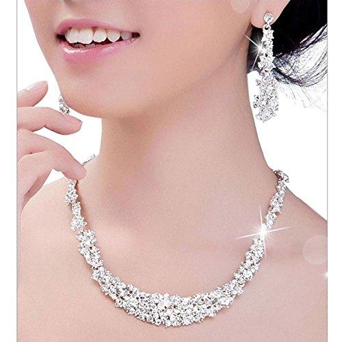 Toamen Ensembles de Bijoux Femmes Mariage de bijoux De mariée Cristal Collier + boucles d'oreilles Toamen