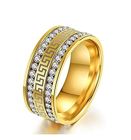 SanJiu Jewelry Unisex Ring Round 9MM Stainless Steel Rings with Great Wall Two Rows CZ Cubic Zirconia Wedding Promise Anniversary Engagement Charm Rings for Women and Men Gold Size N 1/2