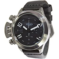 Welder Men's Quartz Watch with Black Dial Chronograph Display and Black Leather Strap K24-3203