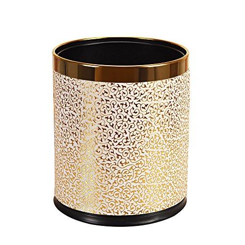 De Luxe en métal Poubelle avec housse cuir, Round Bureau Open Top Corbeille, double couche Poubelle