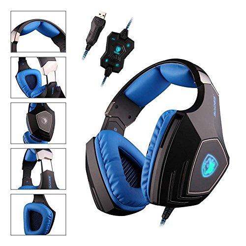 Sades A60Spiel Headset 7.1Surround Sound Pro Gaming Headset Gamer Vibration Funktion Kopfhörer Kopfhörer mit Mikrofon für PC-Spiel (schwarz blau)