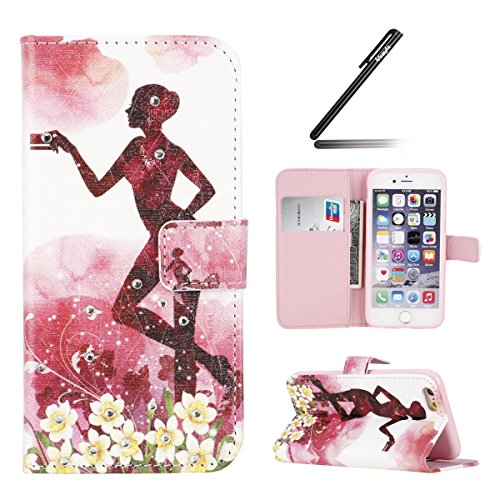Coque Etui pour iPhone 6 Plus/ 6S Plus, iPhone 6 Plus Coque Etui Housse Portefeuille, iPhone 6S Plus Bookstyle Étui Relief dessin animé peinture Housse en Cuir Case à rabat, iPhone 6 Plus/ 6S Plus Lea Diamant-carte fille