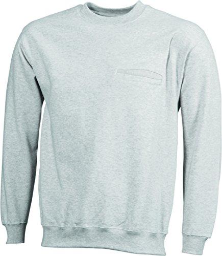 James & Nicholson Herren Round Sweat Pocket Sweatshirt Beige (Ash)