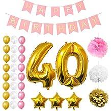 Globos Cumpleaños Happy Birthday #40, Suministros y Decoración por Belle Vous - Globo Grande de Aluminio 40 Años - Decoración Globos De Látex Dorado, Blanco y Rosa - Apto para Todos los Adultos