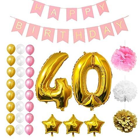 40. Geburtstag Luftballons Happy Birthday Banner Party Zubehör Set & Dekorationen von Belle Vous ? Große Folienballons für den 40. Geburtstag ? Gold, Weiß & Pink Latex-Ballon-Dekoration - Dekor für alle Erwachsenen geeignet