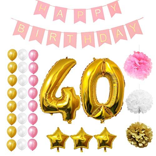 Luftballons u. Dekoration zum 40. Geburtstag von Belle Vous - 32-tlg. Set - Großer 40 Jahre Luftballon - 30,5cm Gold, Rosa u. Weiße Dekorative Latexballons - Dekor für Erwachsene (40 Geburtstag Dekorationen)