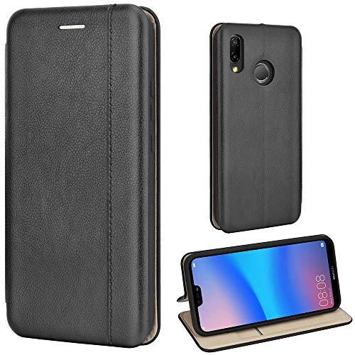 Leaum Huawei P20 Lite Hülle Handyhülle Leder Tasche Flip Case für Huawei P20 Lite Schut
