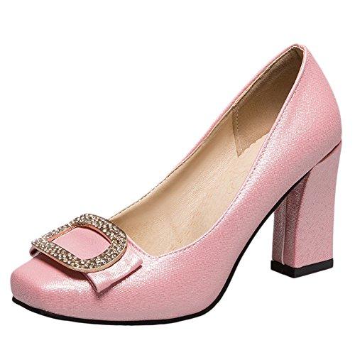 MissSaSa Donna Scarpe col Tacco Blocco Alto Elegante Rosa