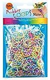 folia 339549 - Rubber Loops Blüten bunt sortiert, 500 Gummibänder, inklusive 25 stück - Clips und 1 Häkelnadel