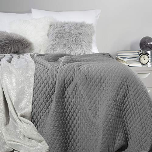 Eurofirany Decke, Bettüberwurf, Tagesdecke, 170x210 cm, Steppung Muster. (Galia Stahl, 200x220 cm), Kunststoff