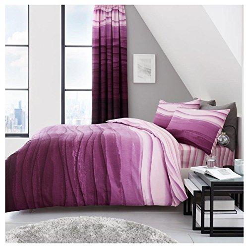 Lions-Inc Ring-Bettbezug, Bettwäsche-Set mit Kissenbezug, Polyester-Baumwolle, alle Größen, Baumwolle/Polyester, Wave-ombre-purple, King - Lion Bettbezug