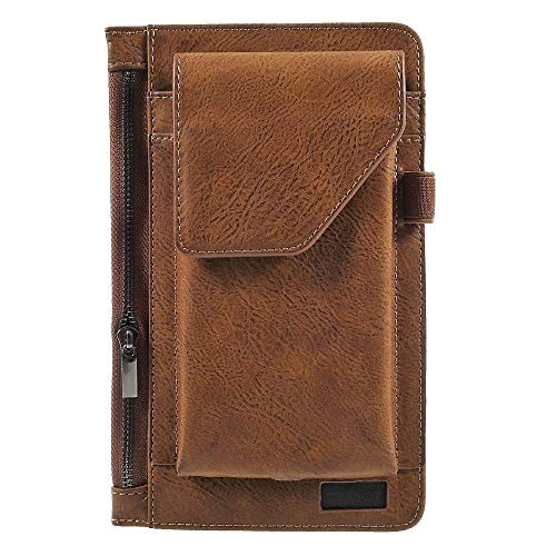 DFVmobile - Cover Vertical Belt Case with Phone Holder Pouch & Inner Pocket with Zipper für => SONIM XP3340 Sentinel > Brown -