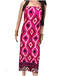 Kurti Material Blouse Fabric Pure Cotton colour fast, rani pink base geometric print multicolour panel