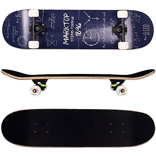 FunTomia Skateboard mit MACH1 ABEC-11 Kugellager Rollenhärte 92A und 9-lagigem Ahornholz (Es stehen verschiedene Farbdesigns zur auswahl) (Mathematik blau)