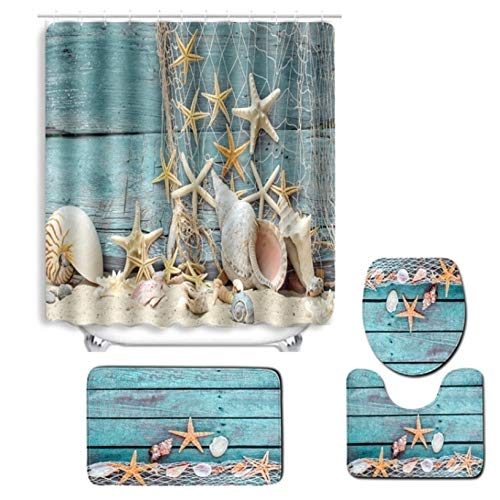 Tolunt, set di 4 tende da doccia con motivo stampato a tartarughe, tappetino, copriwater e tappetino da bagno, con 12 ganci 4pcs/set 3