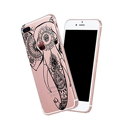 Coque iPhone 7 Plus,Vanki® Modèle simple Housse Transparente Housse TPU Souple Etui de Protection Silicone Case Soft Gel Cover Anti Rayure Anti Choc pour Iphone 7 Plus éléphant