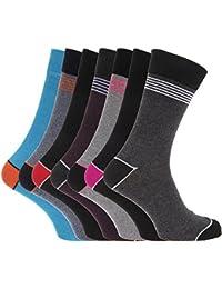 Soho Collection Herren Socken, bunt gestreift / schlicht mit Kontrast-Zehen- und Fersenbereich, 7 Paar