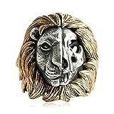 AMDXD Echtschmuck 925 Silber Ring Herren Löwe TotenKopf Bicolor Breit Silber Gold Größe 65 (20.7)