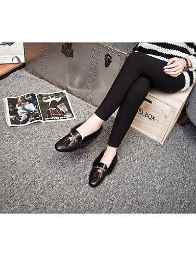 ShangYi gyht Scarpe Donna - Mocassini - Ufficio e lavoro / Formale / Casual - Comoda - Piatto - Di pelle - Nero / Argento Black