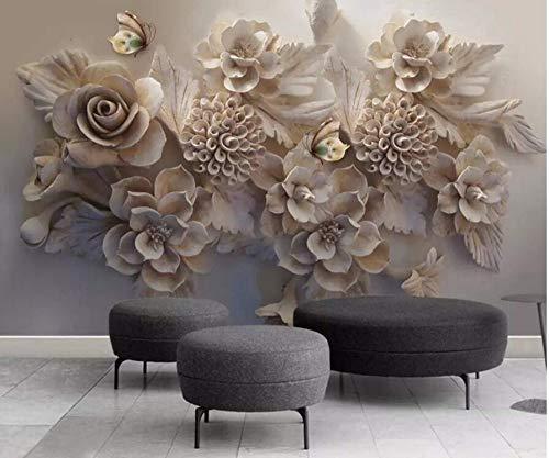 Sticker Mural Papier Peint Canapé 3D Chambre Murpapier Peint 3D Gaufré  Fleurs Papillons Papier Peint Moderne Simple Pour Le Décor De Mur Tv Salon  ...