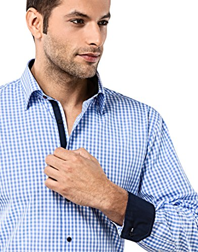 Vincenzo Boretti Herren-Hemd Bügelfrei 100% Baumwolle Slim-Fit Tailliert Kariert New-Kent Kragen - Männer Lang-Arm Hemden für Anzug mit Krawatte Business Freizeit Blau/Weiß