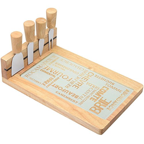 Planche plateau à fromage Couteaux Fourchette Aimantés AOC Beige et gris Acier inoxydable bois et verre La chaise longue 34-1K-011