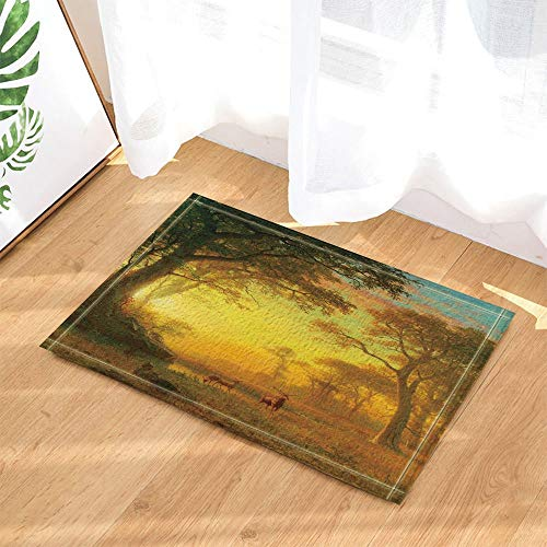 YYAANNGG Landschaftsdekorationselche, die in Herbstwald Badteppich rutschfeste Türmatte Wohnzimmer Kinderteppich Badezimmerzubehör 50x80cm gehen