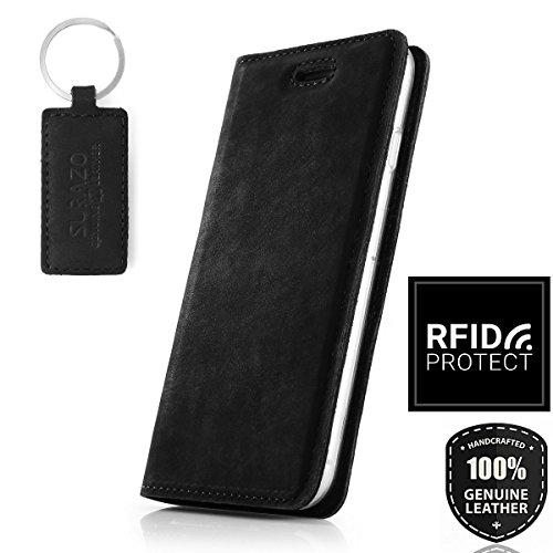 SURAZO Schwarz RFID Smart Magnet - Premium Vintage Ledertasche Schutzhülle Wallet Case aus Echtesleder Nubukleder Farbe Schwarz für Sony Xperia X