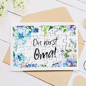 """A Puzzle mit 24 Teile """"Du wirst Oma"""" Blau Blumenmuster zur Verkündung der Schwangerschaft – Geschenkidee für Mutter, Schwiegermutter"""