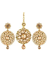 Classic Floral Rustic Gold Plated Zinc Casting Cz American Diamond Mangtika With Earring For Women & Girls [CJMT1009G]