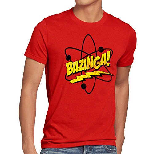 CottonCloud Sheldon Atomo T-shirt da uomo, Dimensione:M;Colore:rosso