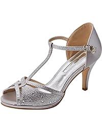 XTI 30701, Zapatos con Tacon y Tira Vertical Para Mujer