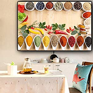 Leinwanddruck Plakat Leinwand Malerei Wand dekorative Getreide Gewürze Küche Leinwand Gemälde Bild Kochen Skandinavien…